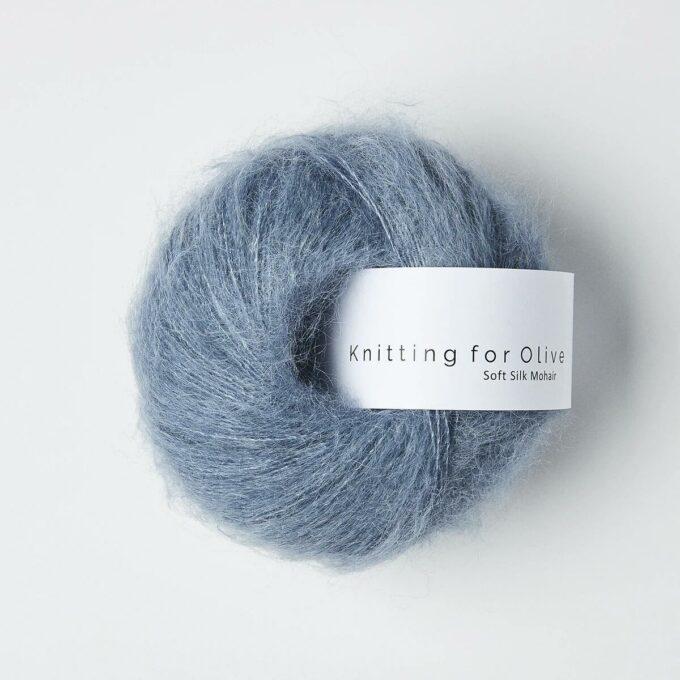 Knitting for Olive Soft Silk Mohair Støvet dueblå